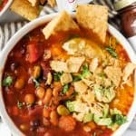 Instant Pot Spicy Southwestern Veggie Chili is the perfect cozy bowl to warm you up this fall and winter!  Made with hearty vegetables and delicious ​Green Mountain Gringo® Medium Salsa​​, this hearty meal is perfect for Meatless Monday, or any night of the week!