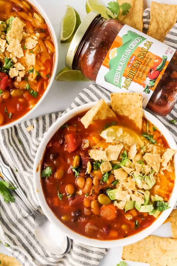 Instant Pot Spicy Southwestern Veggie Chili is the perfect cozy bowl to warm you up this fall and winter! Made with hearty vegetables and delicious Green Mountain Gringo® Medium Salsa, this hearty meal is perfect for Meatless Monday, or any night of the week!