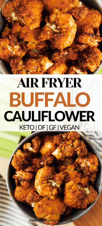 Air fryer buffalo cauliflower bites by Momma Fit Lyndsey with no breading. These gluten free and vegan buffalo cauliflower wings are easy to make for a healthy snack or appetizer! These healthy cauliflower bites are keto friendly and a perfect for game day snack!