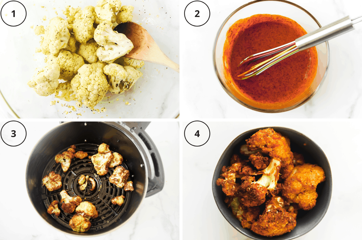 steps for making cauliflower with buffalo sauce in the air fryer