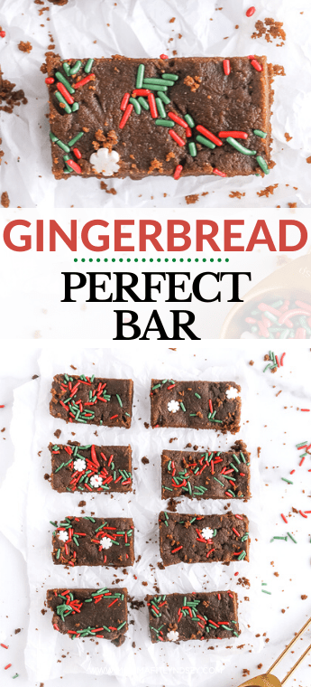 gingerbread perfect bar from Momma Fit Lyndsey. Almond butter perfect bar copycat recipe with holiday sprinkles and delicious ginger and molasses. Vegan perfect bar copycat you will love!