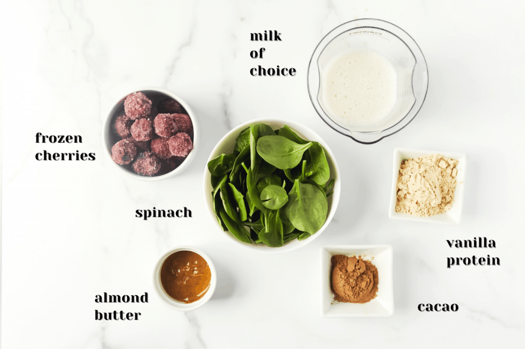 ingredients for a chocolate cherry spinach smoothie