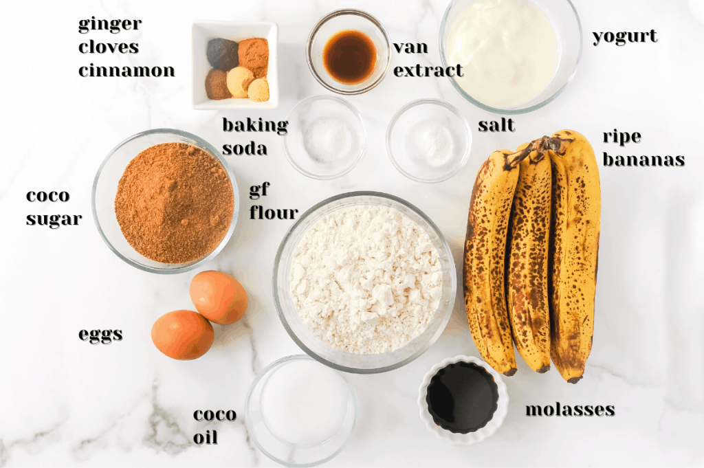 ingredients for ginger banana bread with molasses
