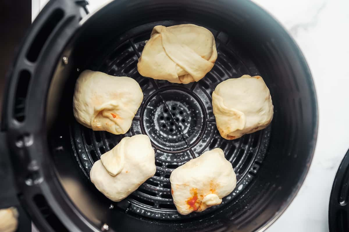 making homemade pizza rolls in an air fryer