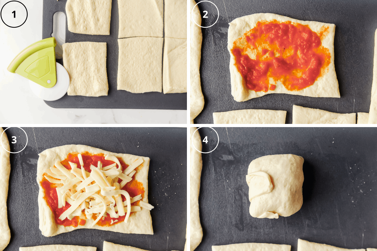 steps to make air fryer pizza rolls