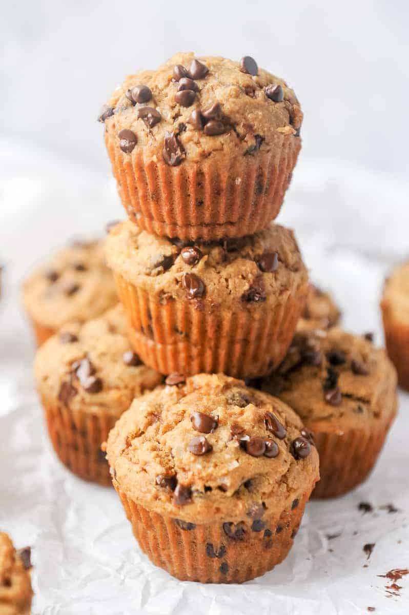 Gluten free chocolate chip muffins that are healthy! Soft and fluffy chocolate chip bakery style muffins that can be made dairy free.