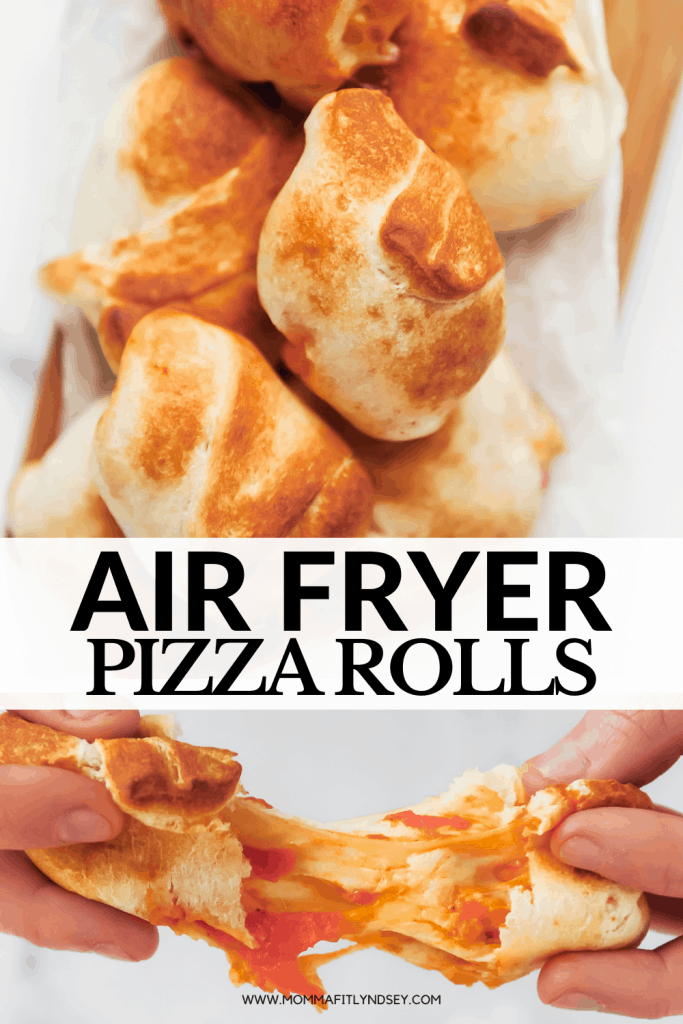 Homemade Air Fryer Pizza Rolls with only 3 ingredients! Easy to make with pizza dough in the Vortex or other air fryer. Watch the video to check out this kid friendly snack recipe!