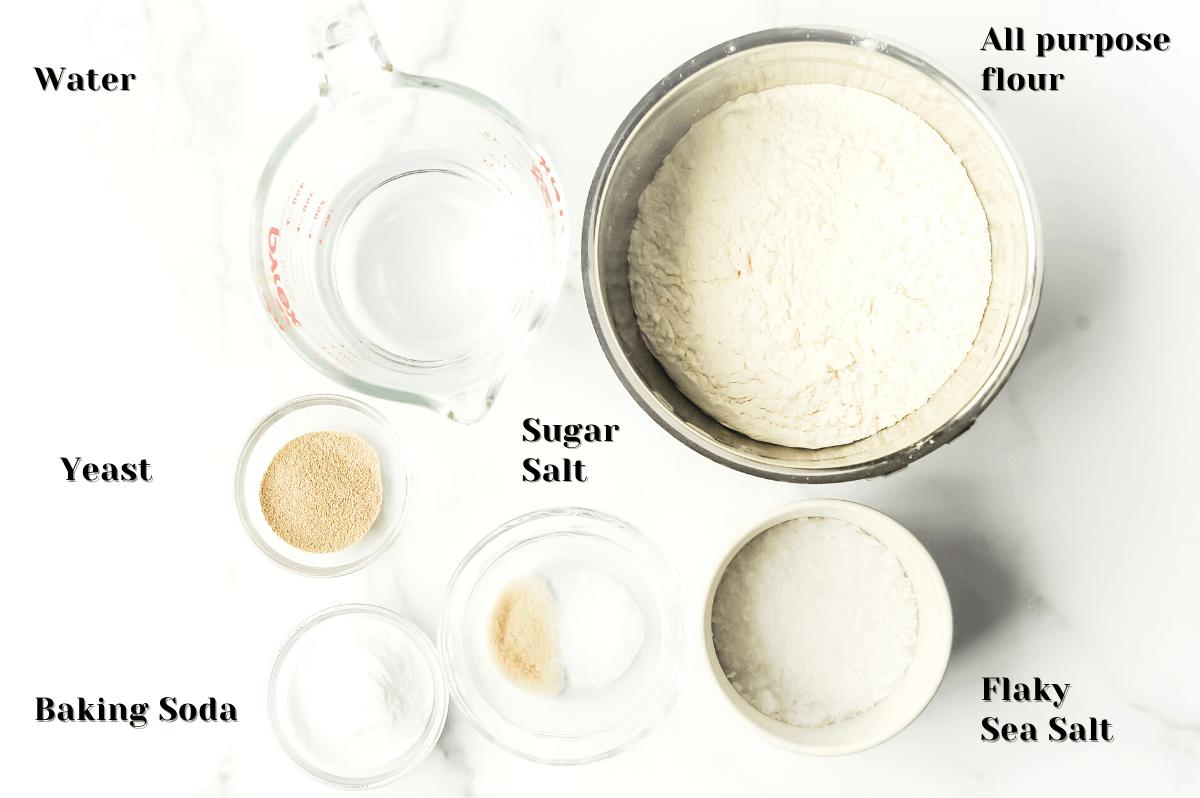 ingredients for making soft pretzel bites at home