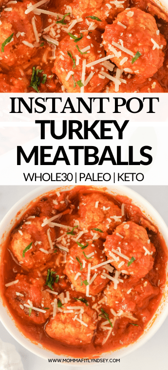 Healthy Instant Pot turkey meatballs with sauce are easy to make with only 5 ingredients!  Ground turkey, garlic, almond flour, salt and olive oil create deliciously moist gluten free, keto Whole30 meatballs in just minutes!