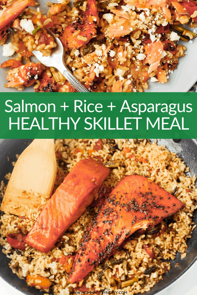 #ad Salmon, rice and asparagus are a healthy easy weeknight meal. Made with Seafood from Norway, this easy dinner recipe is simple enough for weeknight cooking and fancy enough for holiday celebrations at home. #SeafoodFromNorway #CreatingKoselig