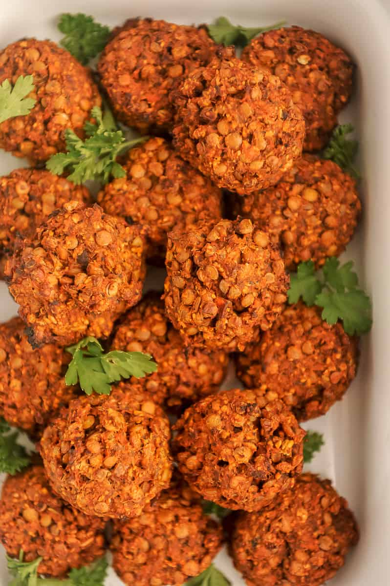 dish of lentil meatballs with no sauce