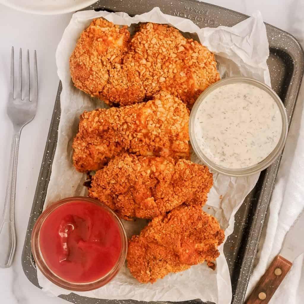 pan of crispy air fryer chicken