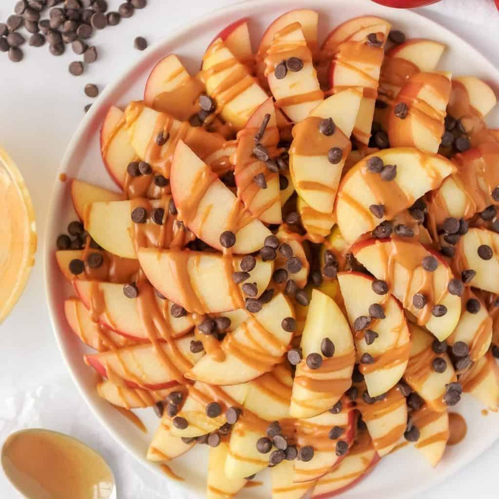apple nachos on a plate