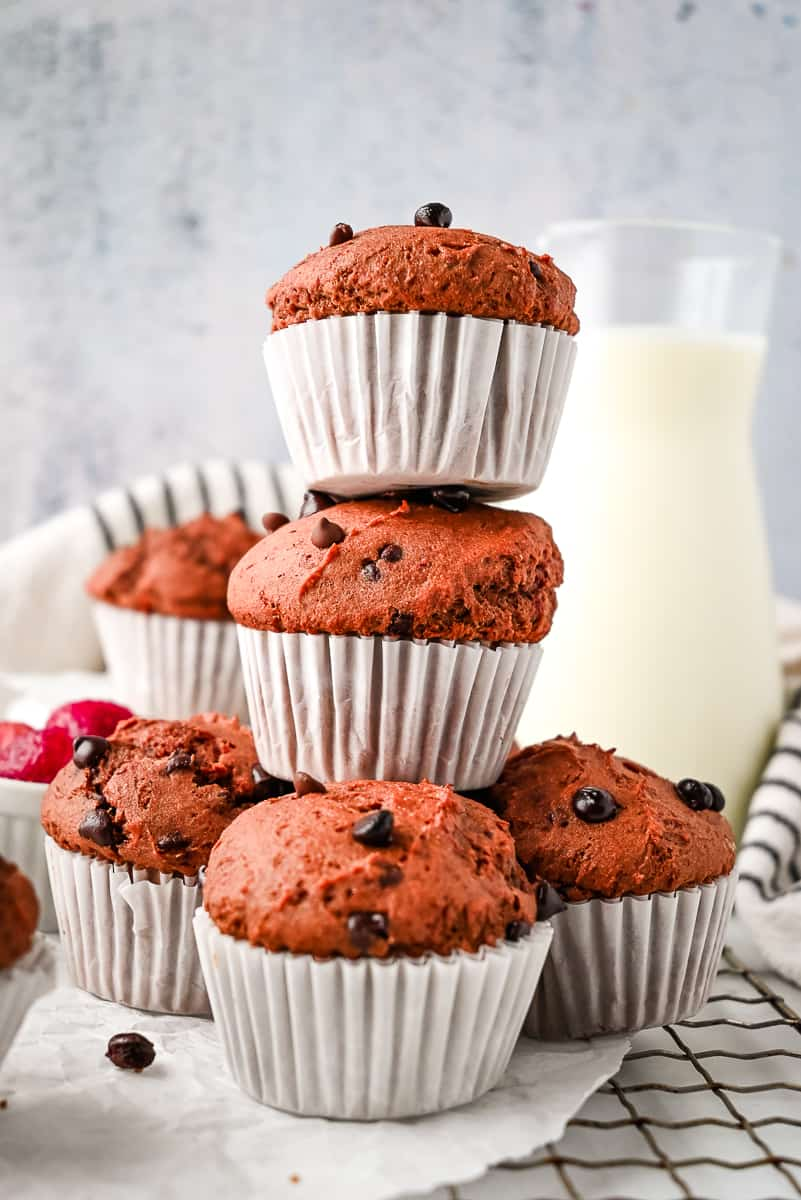 stack of strawberry muffins with chocolate chips