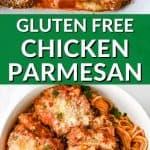 plate of gluten free chicken parmesan