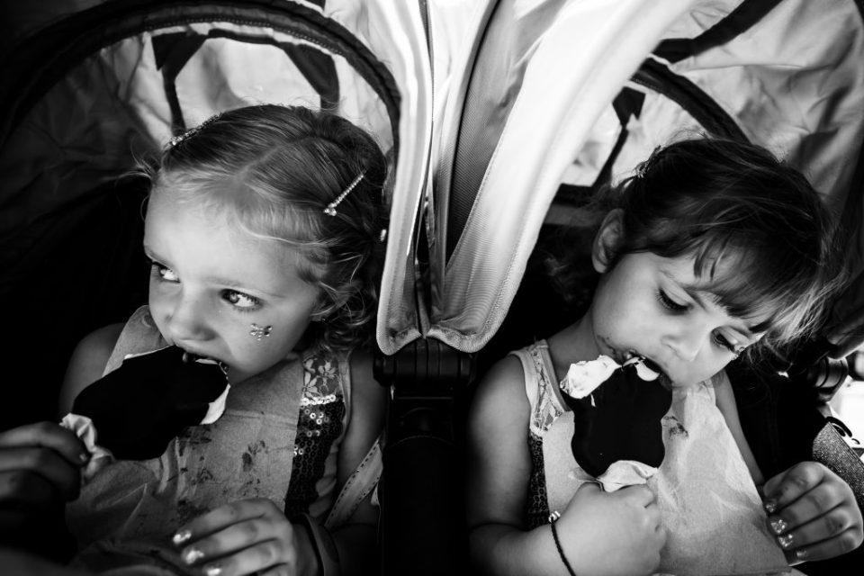 Little girls eating ice cream at Disney World