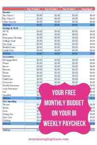 bi weekly budget how to budget when you are paid every other week