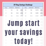 30 day money saving challenge. Save $500 in 30 days