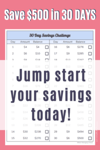 30 say money saving challenge. Save $500 in 30 days.