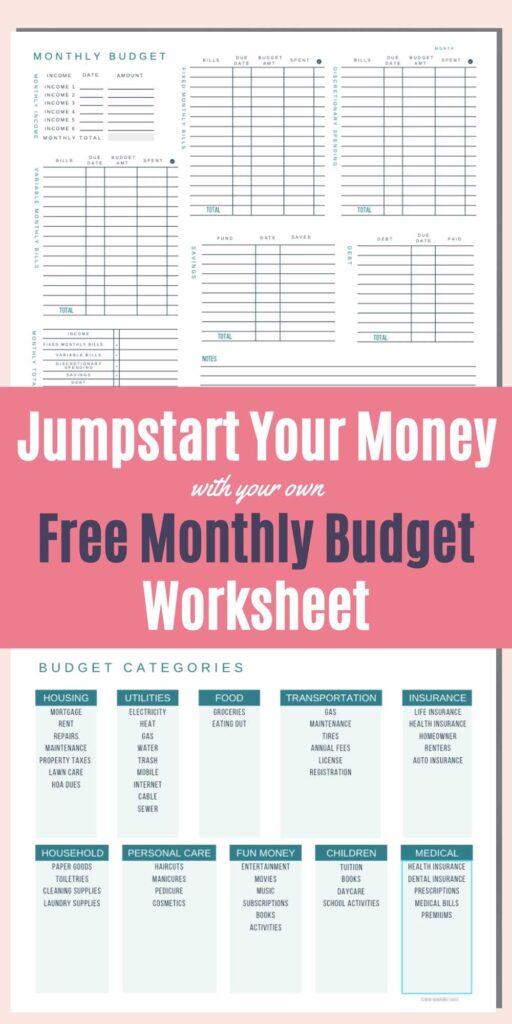 blank budget worksheet printable