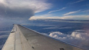 Sky from an airplane wing
