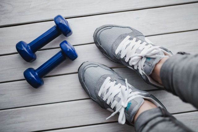 shoes and dumbbells