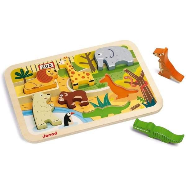 צעצועים פאזל התאמת צורות מעץ גן החיות - Mom & Me