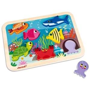 צעצועים פאזל התאמת צורות מעץ חיות הים - Mom & Me
