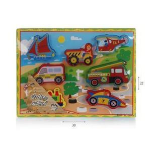 צעצועי עץ פאזל כלי תחבורה - Mom & Me