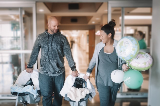 Going home after our natural childbirth with twins