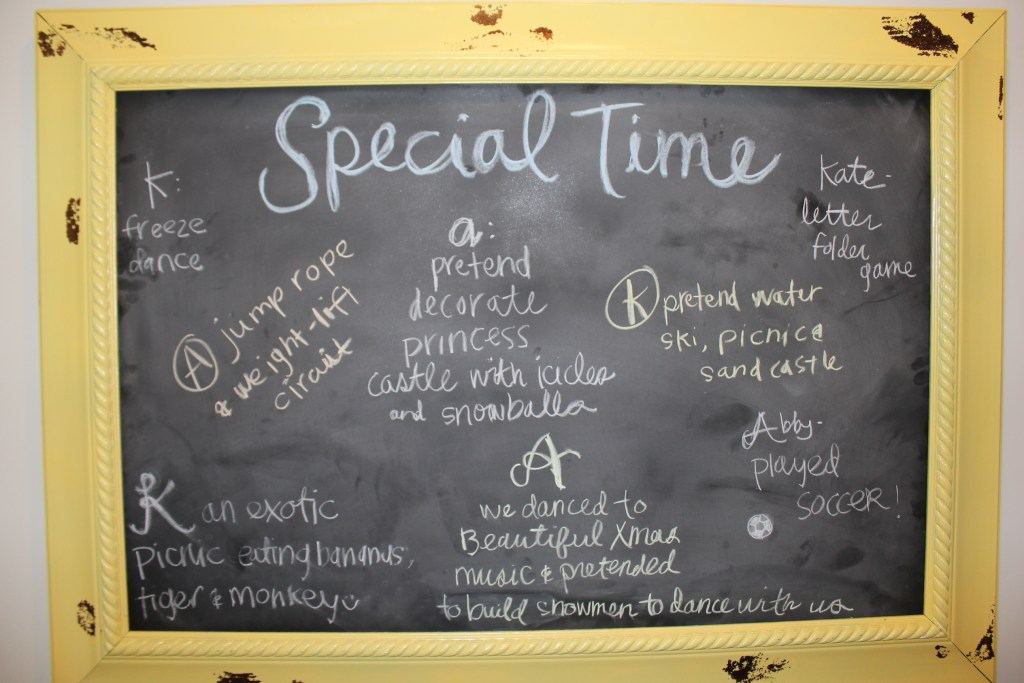 one on one special time chalk board