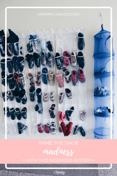 Shoe organization: ingenious system with directions to tame the madness for good! 6 other ways to organize shoes included too.