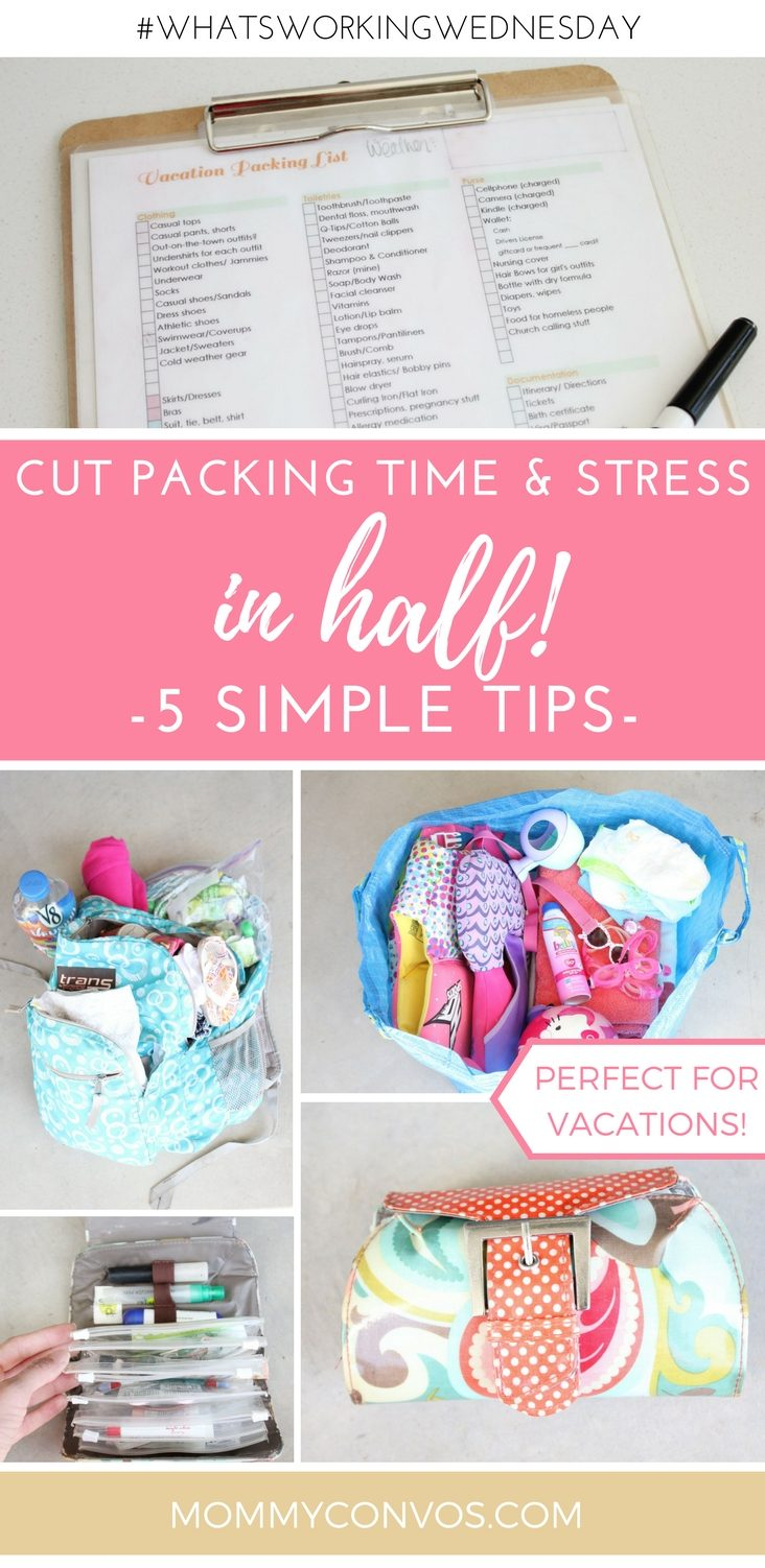 Vacation packing tips: How to save time packing! Easy packing methods. Packing for a trip with little kids. 5 tips to save stress when packing for a vacation! mommyconvos.com