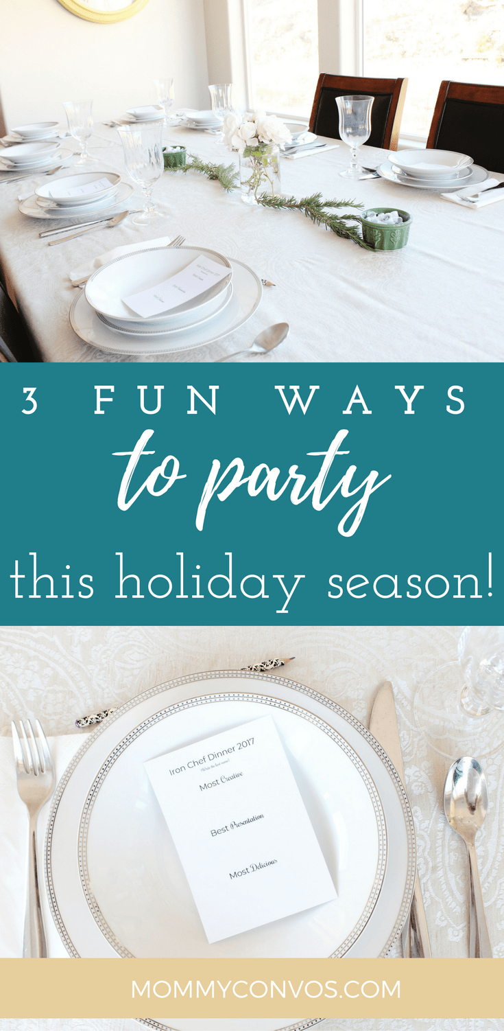 Fun holiday party ideas. Iron Chef competition, funny phrase game- plus lots of ideas to make a work party more fun, and a mocktail party! Ways to throw a fun holiday party. Work Christmas party games and more! Iron Chef tournament could make an awesome new year's tradition!
