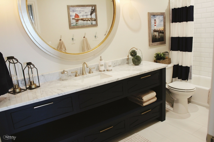 fun cabinetry and less mirror to clean in the boys' bath!