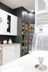 open pantry. black, modern kitchen. pantry ideas 2019. st george parade of homes