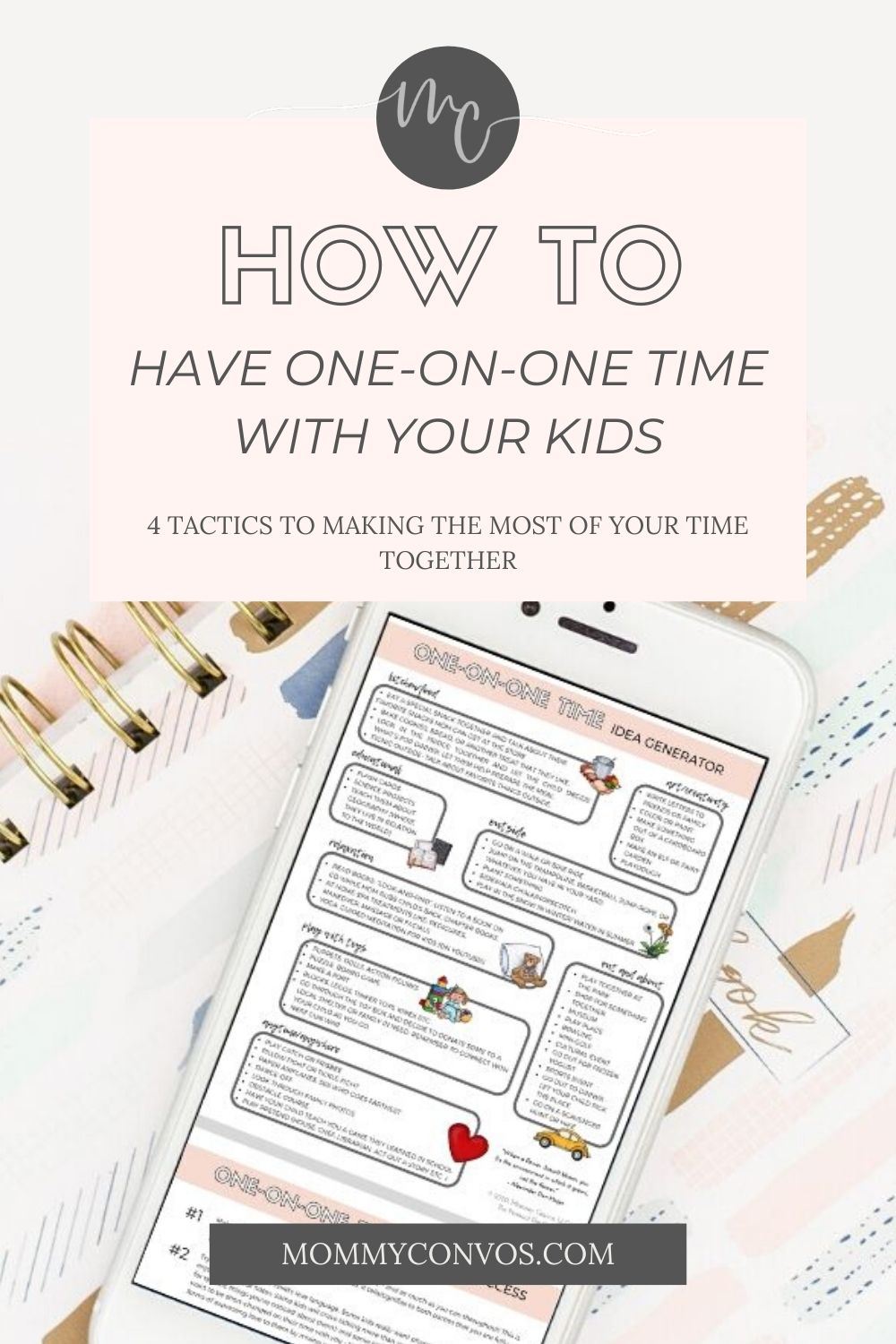 "GREAT advice for starting some 1-on-1 time with your kids. The Why, the HOW, and great printables to make it a success! 1) an activity idea generator to find quality things to do together, top 10 tips for successful ""special time"""