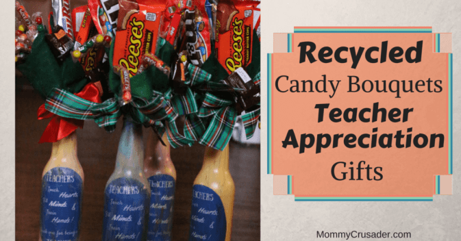 As the end of the year nears, it becomes time to thank our children's teachers. We made recycled candy bouquets teacher appreciation gifts as thank yous. This craft finishes in about three hours, was simple to make, and looks awesome.