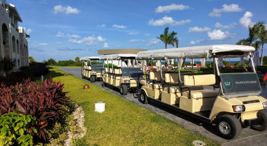 Golf carts at the Moon Palace complex in Cancun