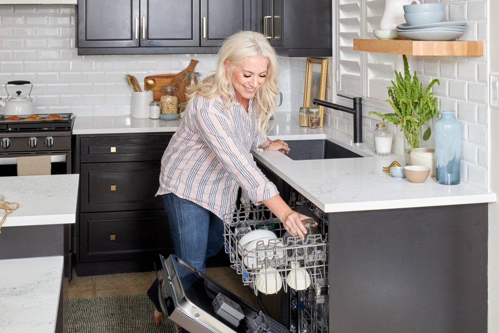 black stainless steel dishwasher