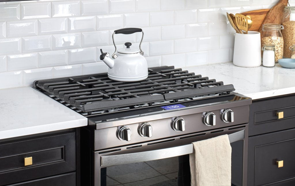 black stainless steel stove