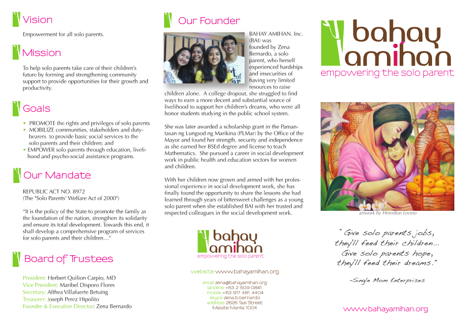 Bahay Amihan Brochure for Solo Parents (page 1)