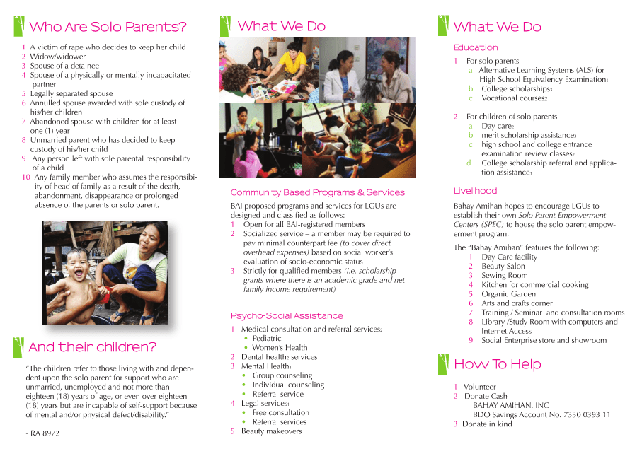 Bahay Amihan Brochure for Solo Parents (page 2)