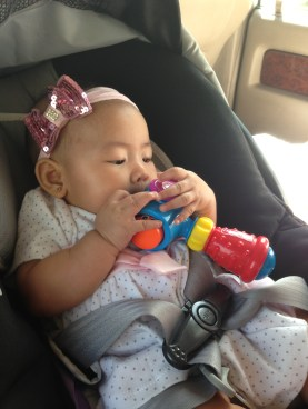 Baby Z with her Fisher Price Hammer Toy