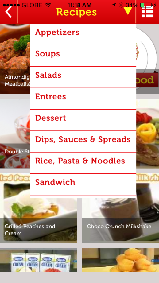 Menu Tabs of My Great Food App