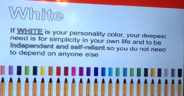 If your favorite color is WHITE, you are...