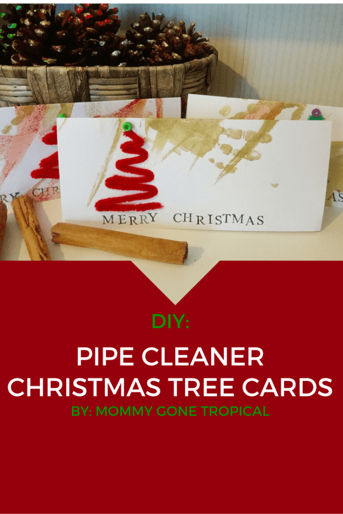 If you are tight on time & still want to create Christmas cards with your children, then this easy DIY pipe cleaner Christmas tree cards tutorial is for you!