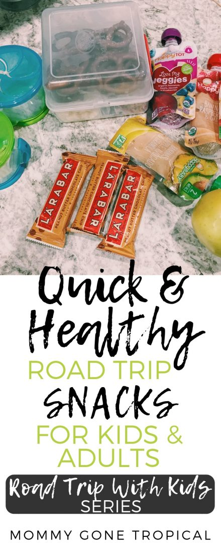 Need some quick and healthy road trip snacks ideas? Know how to pack the snacks in the car for a road trip? Find out what I brought and how I stored mine! #roadtripsnacks #roadtripwithkids   mommygonetropical.com