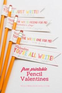 valentines pencil printable