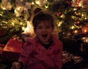 Maddie showing a little excitement at Eddie's!